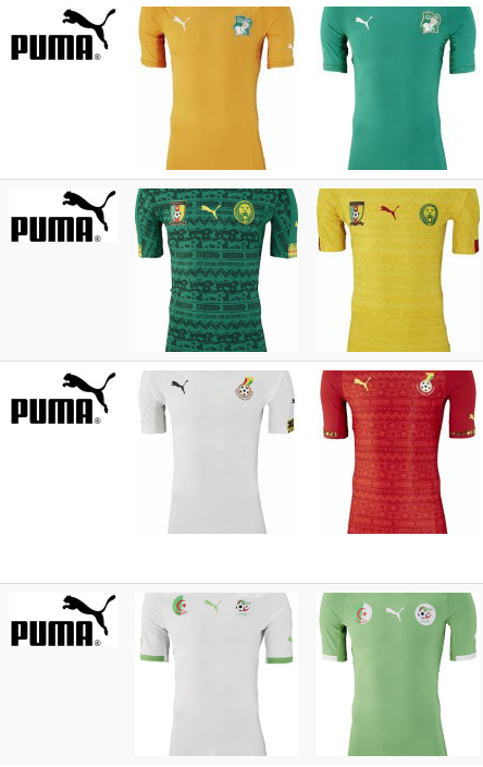 Afrikanische WM-Trikots 2014: (von oben nach unten) Elfenbeinküste, Kamerun, Ghana und Algerien