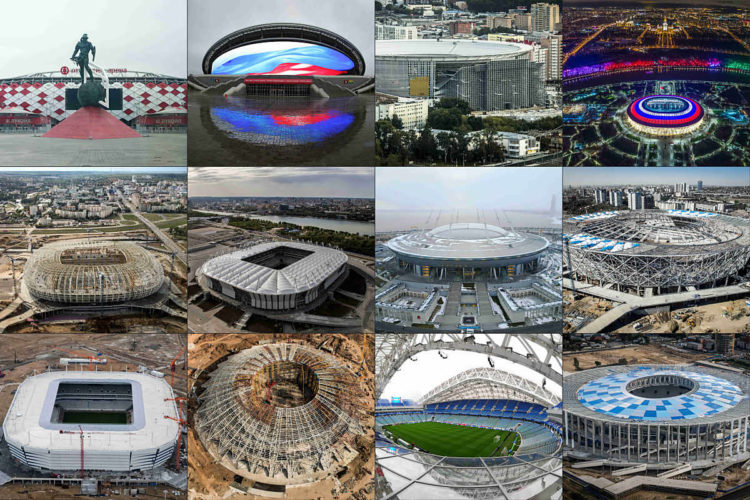 Die WM Stadien 2018 im Überblick mit verschiedenen Baufortschritten. Oben links nach rechts: Spartak Stadium in Moskau; Kazan Arena football stadium in Kazan; Yekaterinburg Arena football stadium in Yekaterinburg; Luzhniki Stadium in Moskau; Mordovia Arena in Saransk; Rostov Arena in Rostov-on-Don; Krestovsky football stadium in Sankt Petersburg, Volgograd Arena stadium in Volgograd; Kaliningrad Stadium in Kaliningrad; Samara Arena stadium in Samara; Fisht Arena in Sochi; Nizhny Novgorod Stadium in Nizhny Novgorod;<br /> / AFP PHOTO / TO MATCH