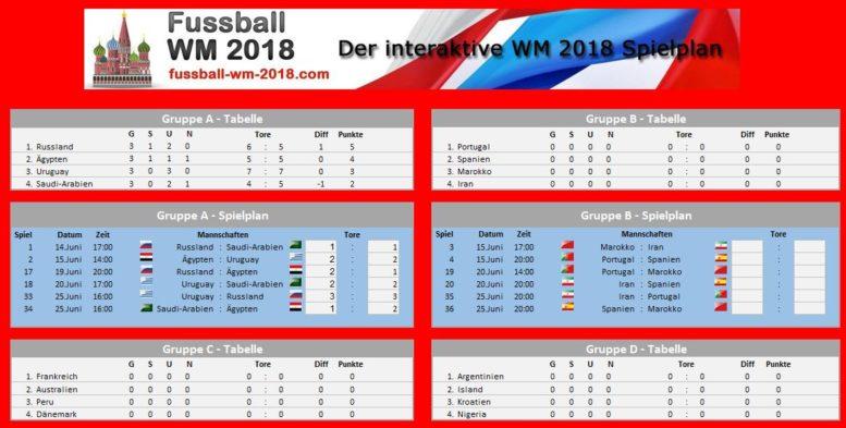 Excel WM 2018 Spielplan zum Tippen & Ausfüllen