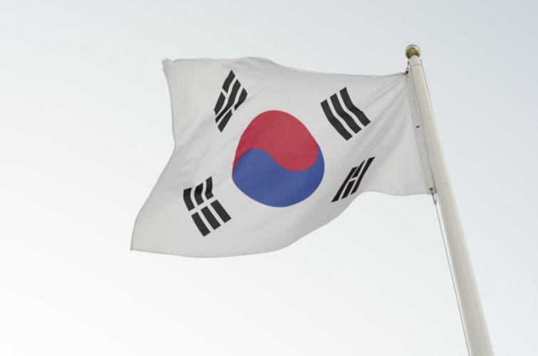 Die Fahne Südkoreas im Wind. Photo: Shutterstock!