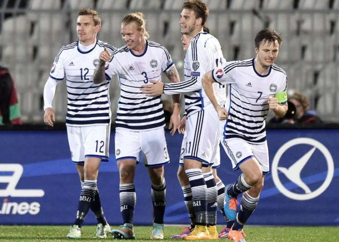Dänemarks ausgefallenes Away Trikot von der EM 2016. Photo: AFP.