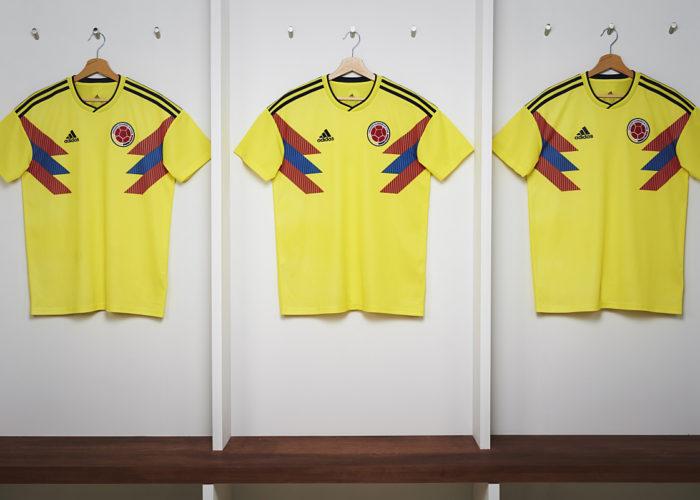 Die neuen adidas Kolumbien Trikots zur Fußball Weltmeisterschaft 2018.