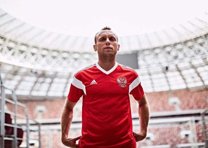 Russlands neues Trikot im Lushniki Stadion. Foto: Adidas Presse.