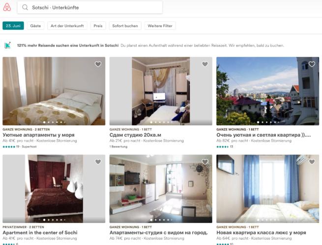 Eine Suche bei airbnb in Sotschi!