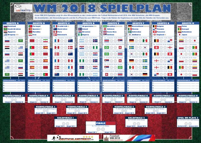 Der WM 2018 Spielplan als pdf-download. - Unser WM 2018 Spielplan zeigt dir alles Wissenswerte zu den Länderspielen der Fußball Weltmeisterschaft 2018: Alle WM-Teilnehmer, alle WM-Gruppen, die Anstoßzeiten, alle Veranstaltungsorte und die K.o.Phase bis zum WM-Finale. Trage in die Kästen die Ergebnisse ein sowie fülle die Tabellen der Vorrunden aus.
