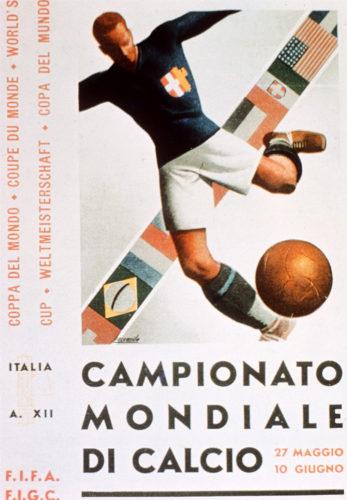 Das offizielle Poster der 2.Fußball-Weltmeisterschaft 1934 in Italien. AFP PHOTO / AFP PHOTO / FIFA / HO