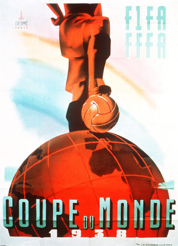 Offizielles Poster der 2.Fußball-Weltmeisterschaft 1938 in Frankreich. AFP PHOTO / AFP PHOTO / FIFA / HO