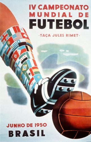 Das offizielle Poster der 4.Fußball-Weltmeisterschaft 1950 in Brasilien. AFP PHOTO / AFP PHOTO / FIFA / HO