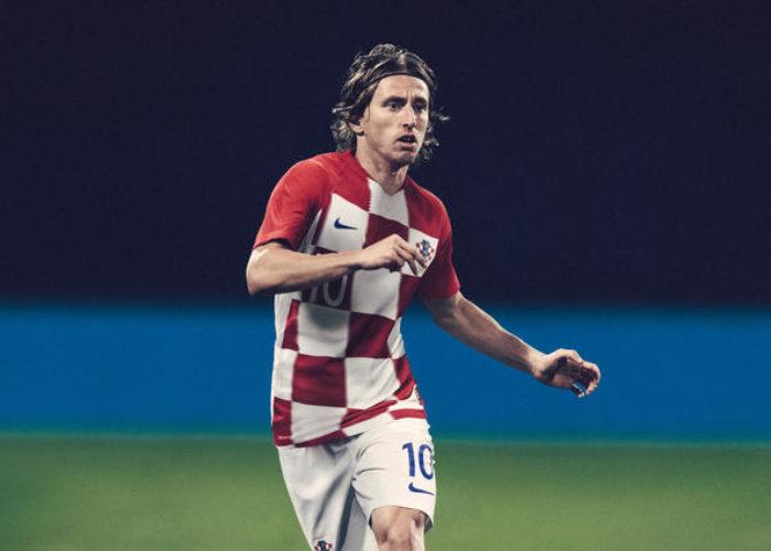 Luka Modric in einer Fotomontage des neuen Kroatien  Heimrikots 2018 von Nike. Photo: Nike.