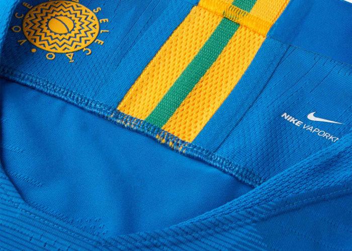 Der Kragen des neuen 2018 Away Trikots von Brasilien. Photo: Footyheadlines.