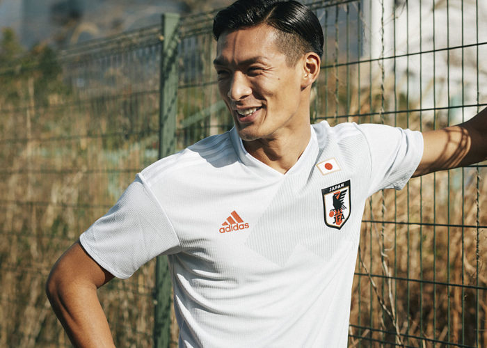 Japans Tomoaki Makino beim Photoshoot für das neue Away Trikot 2018. Photo: Adidas