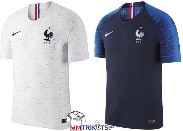 Die beiden neuen Frankreich WM Trikots: Links das Away-Trikot von nike, rechts das neue Heimtrikot in blau von nike.