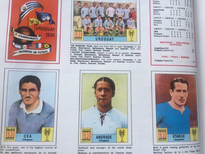 Aus dem Panini Heft 1970 - Die wichtigsten Spieler der Fußball WM 1930.