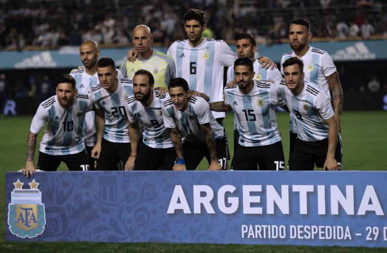 Argentinien im neuen Heimtrikot gegen Haiti in Buenos Aires am 29.Mai 2018,  / AFP PHOTO / Alejandro PAGNI