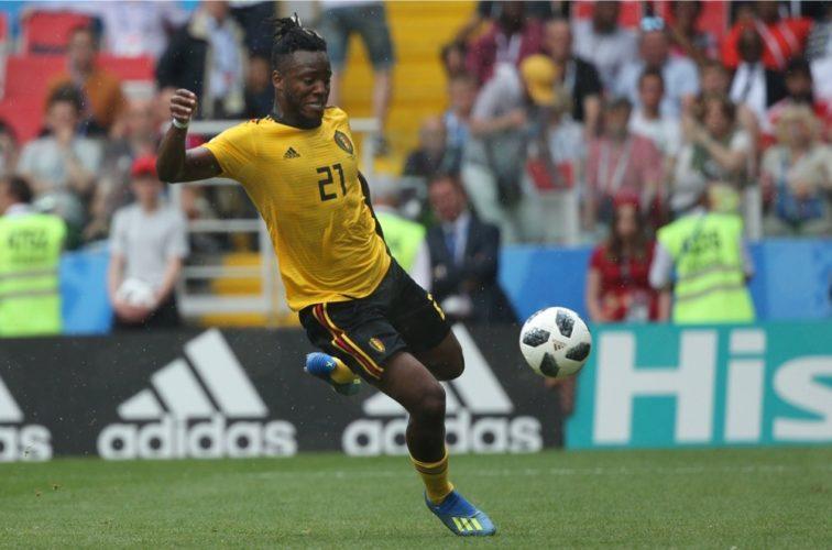 Belgiens Batshuayi im gelben Awaytrikot gegen Tunesien - er darf auch noch ein Tor beim 5:2 zusteuern. (Marco Iacobucci EPP)