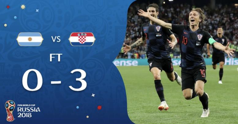 Kroaten gewinnt mit 3:0 gegen Argentinien in der WM Gruppe D.