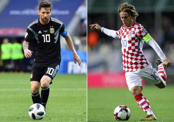 Argentiniens Stürmer Lionel Messi und der Kroate Luka Modric spielen heute in Gruppe D im Nizhny Novgorod Stadium / AFP PHOTO / Mladen ANTONOV AND STR
