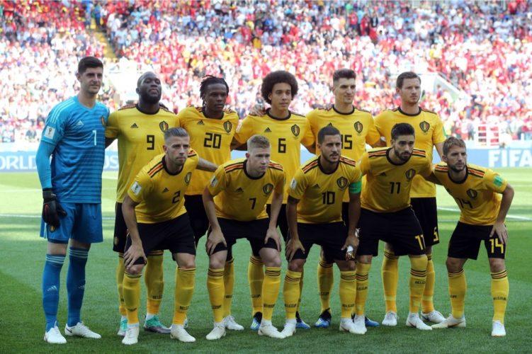 Die Mannschaftsaufstellung von der belgischen Nationalmannschaft beim 2.Gruppenspiel gegen Tunesien, welches 5:2 gewonnen wird. (Marco Iacobucci EPP)