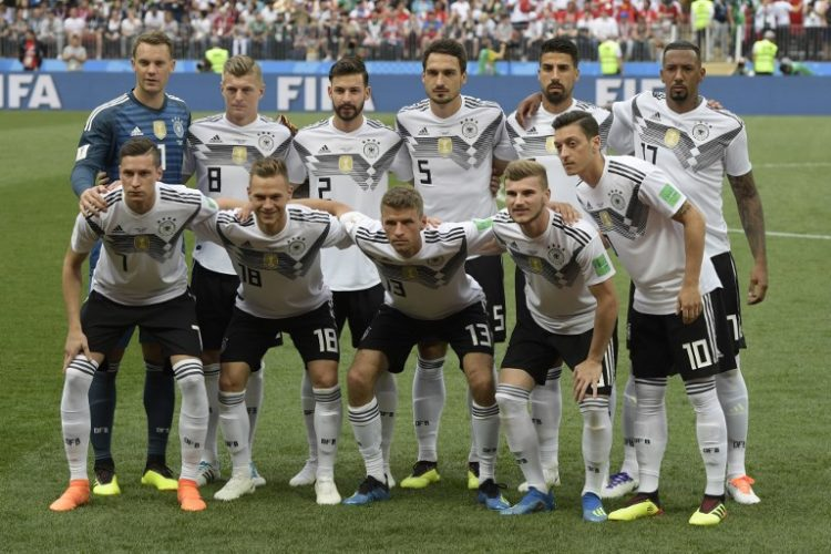 Deutschland verliert mit 0:1 das Auftaktspiel gegen Mexiko - hier die deutsche Startaufstellung am 17.Juni 2018/ AFP PHOTO / Juan Mabromata