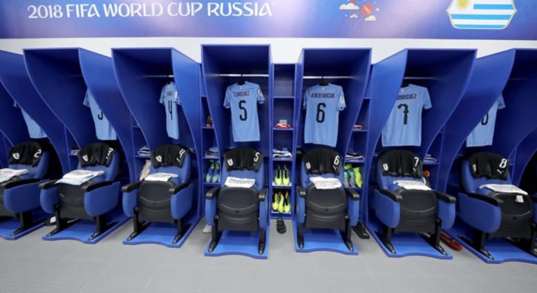 Uruguay ist froh ins WM-Achtelfinale einzuziehen. Hier ein Blick in die Kabine vor dem letzten Gruppenspiel.