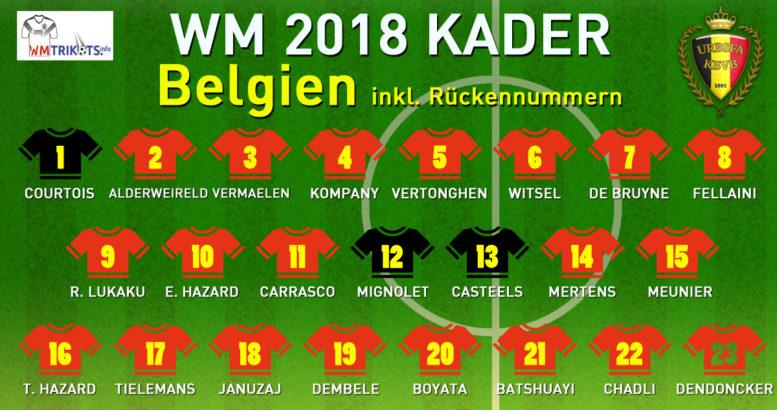 Das ist der endgültige WM Kader 2018 von Belgien bei der Fußball WM 2018.
