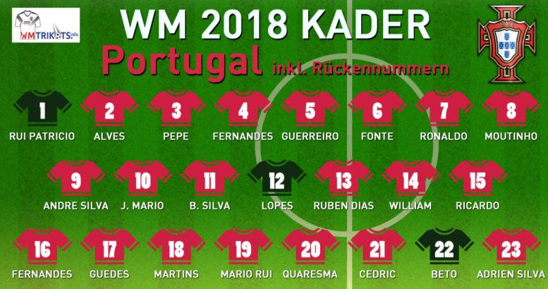 Das ist der endgültige WM Kader 2018 von Portugal bei der Fußball WM 2018.